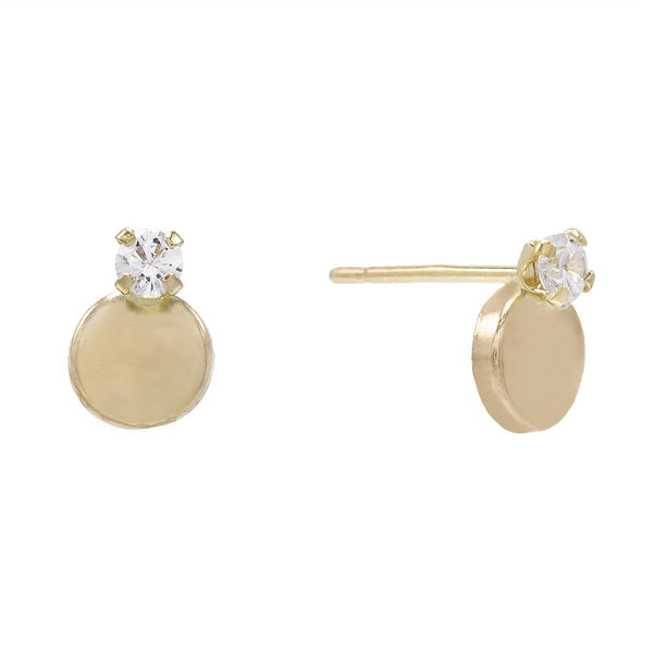 14K Gold Circle Stone Stud Earring 14K - Adina's Jewels