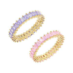 Pastel Baguette Ring Combo Set Multi-Color / 6 - Adina's Jewels