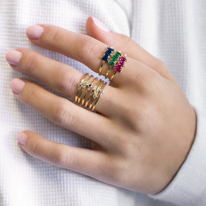 Multi-Color Baguette Ring Set - Adina's Jewels