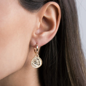 Rose Coin Huggie Earring  - Adina's Jewels