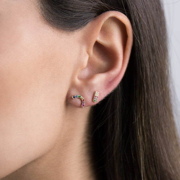 Mini Double Row Stud Earring - Adina's Jewels