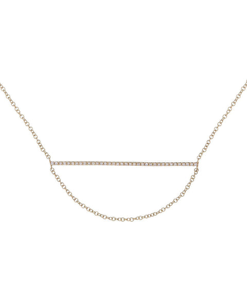 14K Gold Diamond Bar and Hanging Chain Necklace 14K - Adina's Jewels