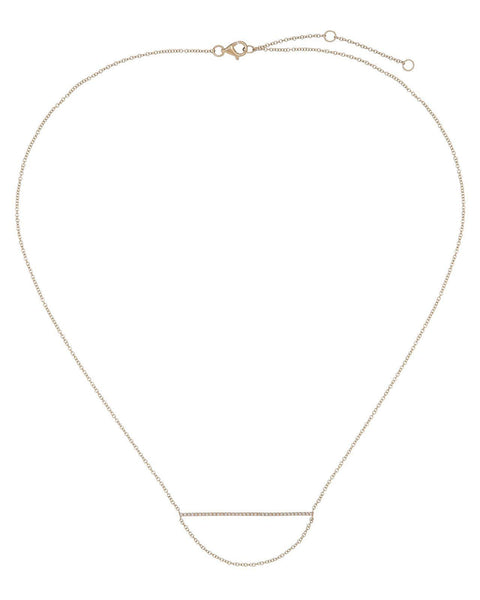 Diamond Bar and Hanging Chain Necklace 14K - Adina's Jewels