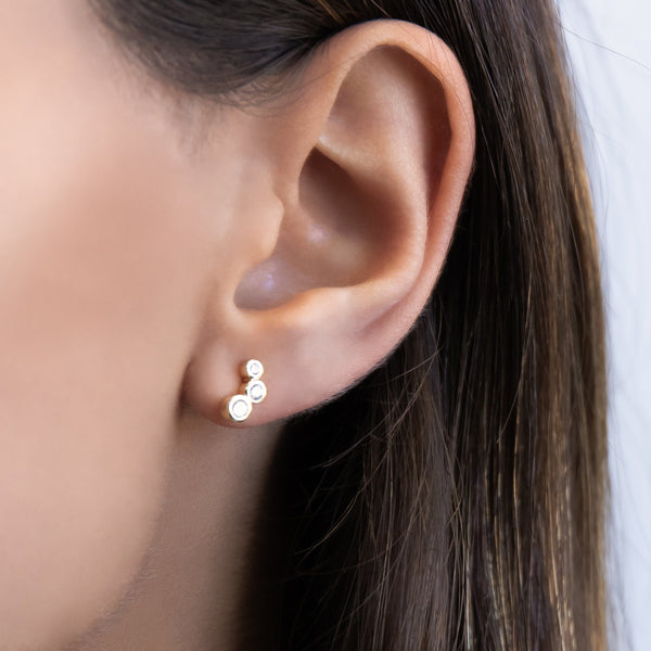 Curved Bezel Stud Earring - Adina's Jewels