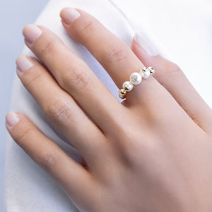 Pearl Trio Bead Ring - Adina's Jewels