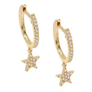 Diamond Star Huggie Earring 14K 14K Gold / Single - Adina's Jewels