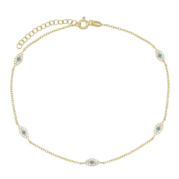 Turquoise Evil Eye Anklet - Adina's Jewels