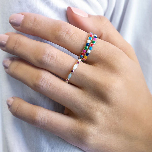 Multi-Color Enamel Ring - Adina's Jewels
