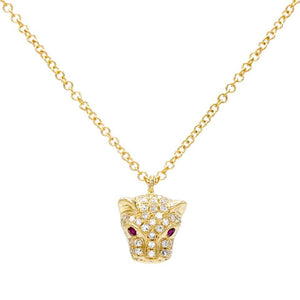 Diamond Panther Necklace 14K 14K Gold - Adina's Jewels