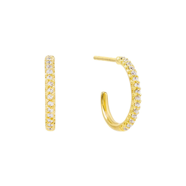 Gold CZ Open Hoop Earring - Adina's Jewels