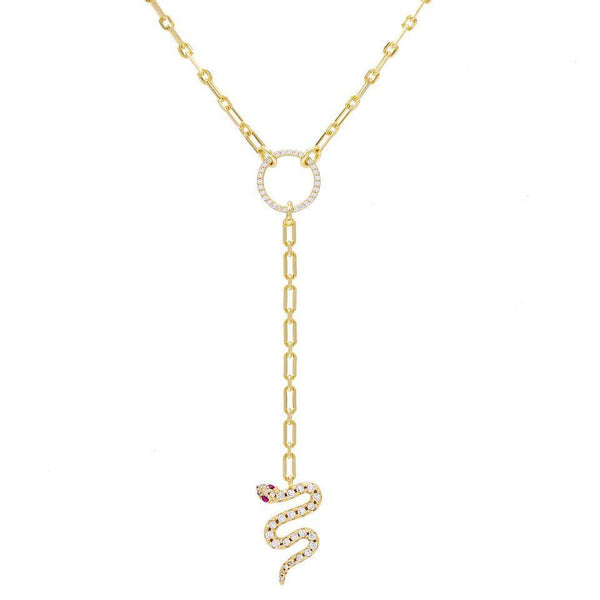 Gold Snake Lariat - Adina's Jewels