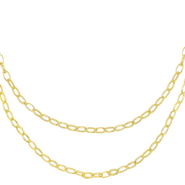 Gold Double Chain Link Necklace - Adina's Jewels