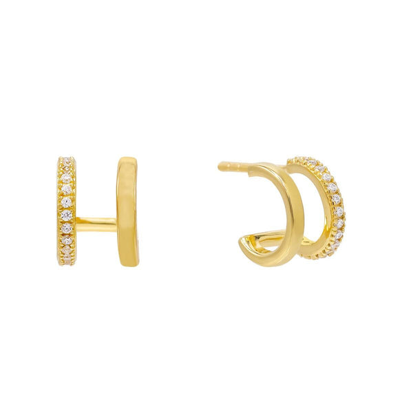 Gold Double Row Solid / Pavé Huggie Earring - Adina's Jewels