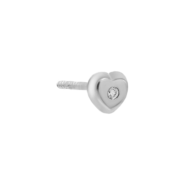 Diamond Heart Stud Earring 14K