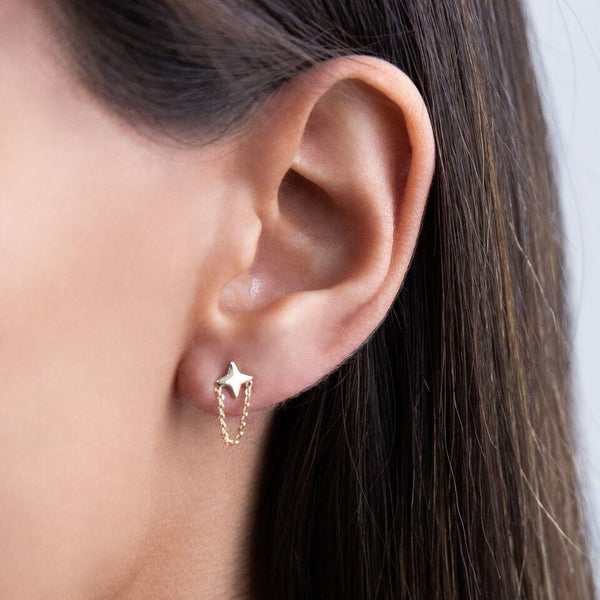 Star Chain Stud Earring 14K - Adina's Jewels
