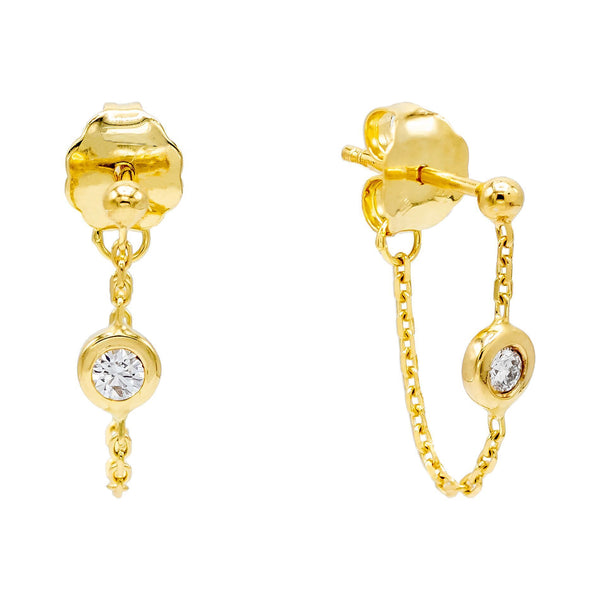 14K Gold Diamond Chain Stud Earring 14K - Adina's Jewels