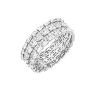 Silver / 8 Triple Row Baguette Ring - Adina's Jewels