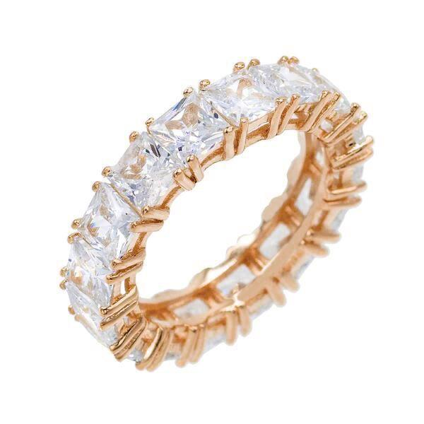 Rose Gold / 6 Princess Cut Eternity Band - Adina's Jewels