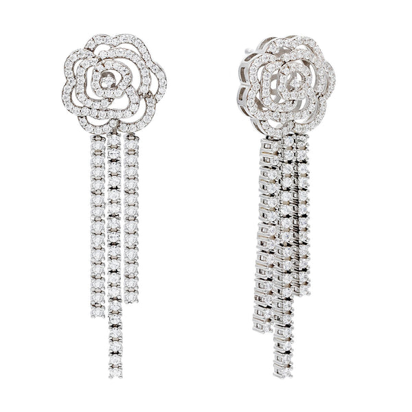 Silver CZ Rose Drop Stud Earring - Adina's Jewels