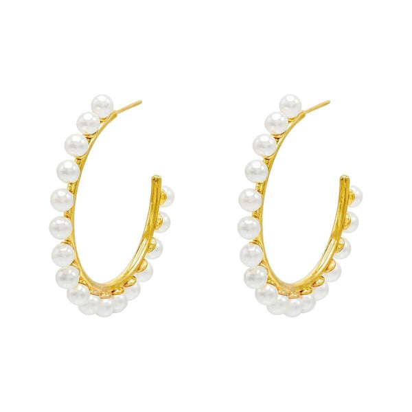 Pearl Studded Hoop Earring - Adina's Jewels