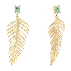 Large Leaf Stone Stud Earring Emerald Green - Adina's Jewels