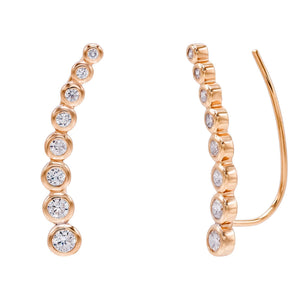 Rose Gold Bezel Ear Climber - Adina's Jewels