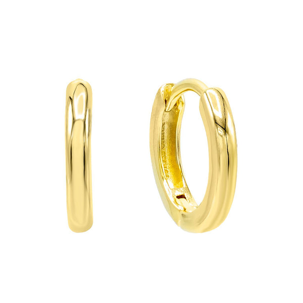 14K Gold / 10 MM / Pair High Polish Solid Huggie Earring 14K - Adina's Jewels