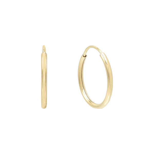 14K Gold / 12 MM Endless Hoop Earring 14K - Adina's Jewels