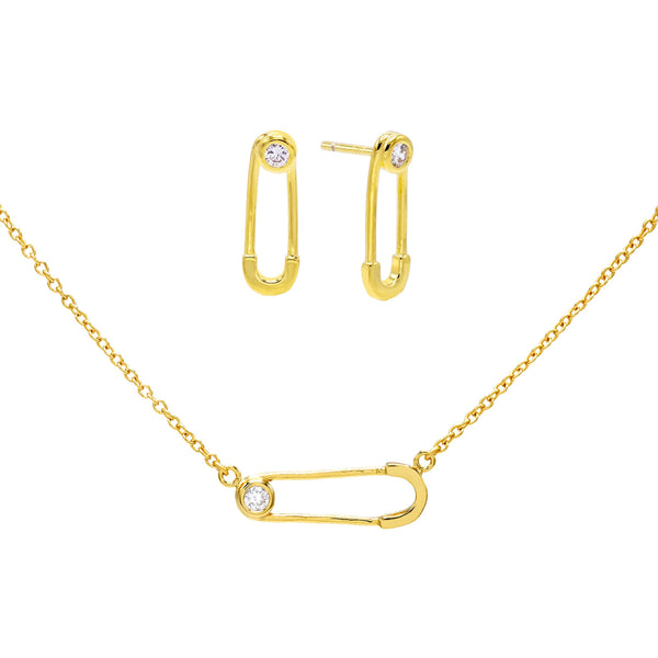 Gold Safety Pin Earring & Necklace Combo Set - Adina's Jewels