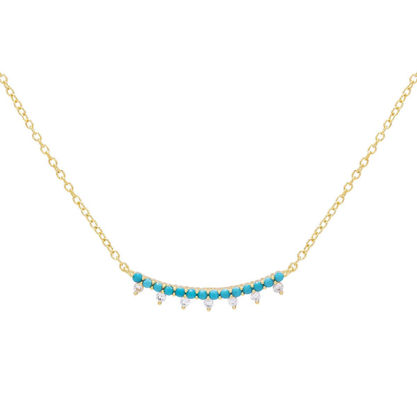 Turquoise Bar Bezel Necklace - Adina's Jewels