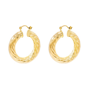 Gold / 38 MM Twist Hoop Earring - Adina's Jewels
