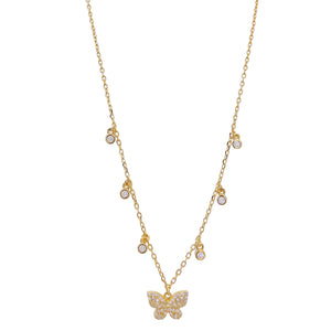 CZ Bezel Butterfly Necklace Gold - Adina's Jewels