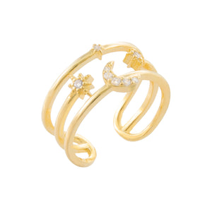 CZ Celestial Adjustable Ring Gold - Adina's Jewels