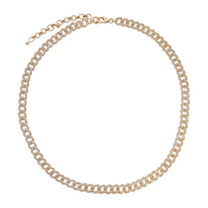 Diamond Chain Link Choker 14K 14K Gold - Adina's Jewels