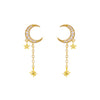 Gold CZ Crescent Chain Drop Stud Earring - Adina's Jewels