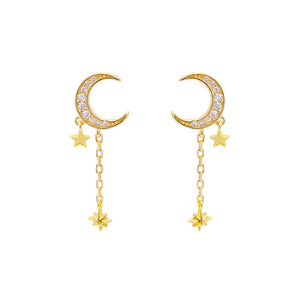 CZ Crescent Chain Drop Stud Earring Gold - Adina's Jewels