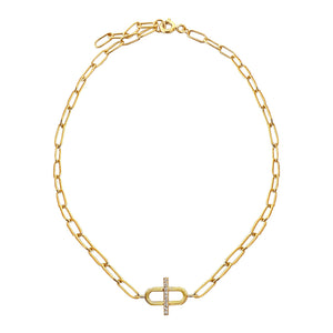 Gold CZ Toggle Multi Link Anklet - Adina's Jewels
