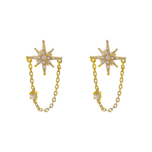 Gold CZ Starburst Chain Stud Earring - Adina's Jewels