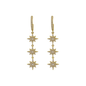 CZ Starburst Drop Hoop Earring Gold - Adina's Jewels