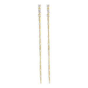 CZ Thin Figaro Chain Drop Stud Earring Gold - Adina's Jewels