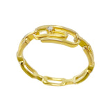 Gold / 6 CZ Paperclip Chain Ring - Adina's Jewels