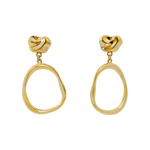 Open Oval Link Drop Stud Earring Gold - Adina's Jewels