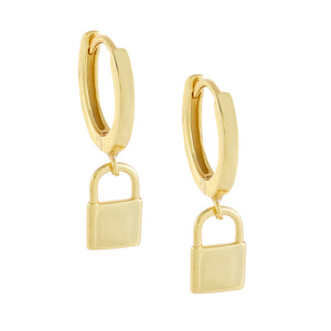 Gold / Plain Mini Solid Lock Huggie Earring - Adina's Jewels