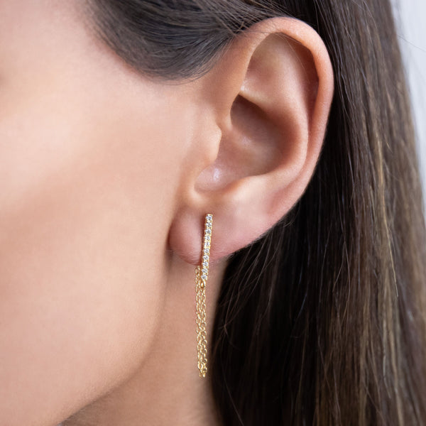 Pave Bar Chain Stud Earring - Adina's Jewels