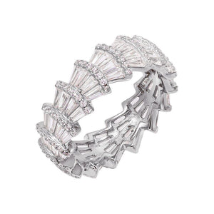 CZ Fan Eternity Band Silver / 9 - Adina's Jewels
