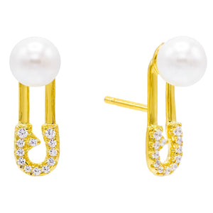 Pearl White Safety Pin Pearl Stud Earring - Adina's Jewels