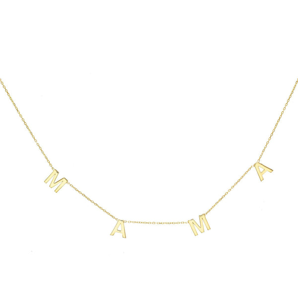 Gold Mama Letter Necklace - Adina's Jewels