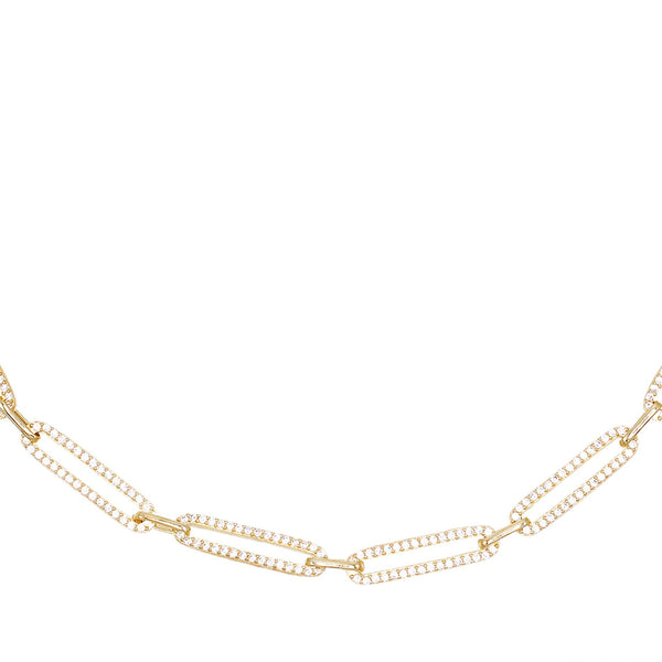 Gold Pavé Oval Link Choker - Adina's Jewels