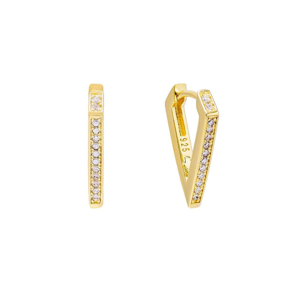Gold / 15 MM Pavé Triangular Hoop Earring - Adina's Jewels