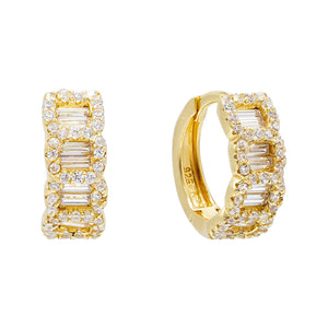 CZ Chain Huggie Earring Gold - Adina's Jewels